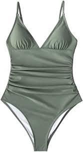 CUPSHE Women's Shirring <b>Design V</b>-<b>Neck</b> Low Back <b>One</b> Piece ...