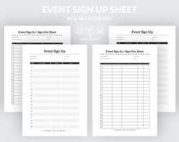 Event Sign In Sheet Printable Sign Out Form Signature List