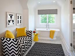 bathroom: Amazing Black White And Yellow Bathroom Decor With Bathtub  Furnished With Nightstand And Sofa