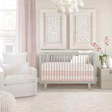 oilo capri crib set – blush  organic crib bedding  baby bedding
