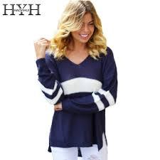 <b>HYH HAOYIHUI Color Block</b> Basic Women Sweater V neck Long ...