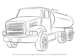 truck drawing outline. Beautiful Outline How To Draw A Gasoline Truck For Drawing Outline R