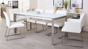 white glass dining table amazing eve frosted glass extending dining table in white and brushed