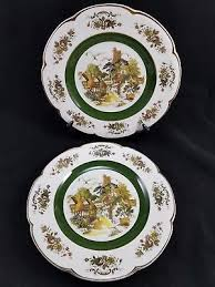 2 ascot decorative wall plates by wood and sons english transferware 10 1 2