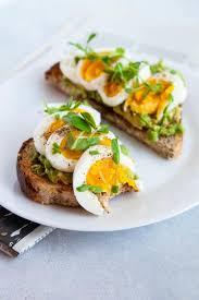 hard boiled eggs with avocado toast