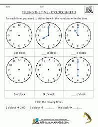 Clock Worksheets To 1 Minute Time Worksheet For Kindergarten ...