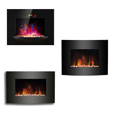 sentinel led flame effect wall mounted electric fire fireplace black curved glass heater