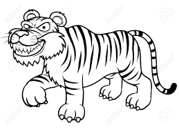 Small Picture Illustration Of Cartoon Tiger Coloring Book Royalty Free