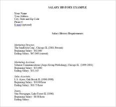 Salary Requirement Letter Resume With Salary History Example