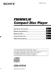 sony cdx gt310 radio cd manuals we have 4 sony cdx gt310 radio cd manuals available for pdf operating instructions manual installation connections