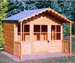 childrens garden playhouse kids play set outdoor wooden wendy house shed 6x5 for