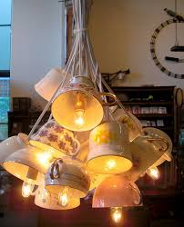 creative diy lamp design from second hand items teacup turned pendant light
