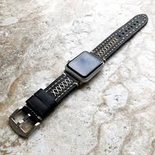 black three layers soft leather band strap bracelet hand stitched for apple watch 38mm 40mm 42mm 44mm iwatch 1 2 3 4 nike hermes edition