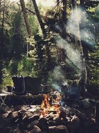 camping in the woods with a fire. Perfect Camping Breakfast Camp Fire Forest Camping Eating Outdoors Adventure Smoke  Chairs And Camping In The Woods With A Fire T