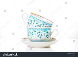 Decorative Cups And Saucers Two Cups Saucer On White Background Stock Photo 100 100