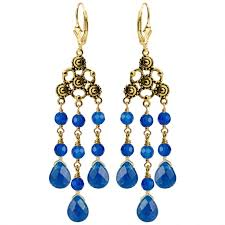 beautiful royal blue jade chandelier gold filled lever back earrings