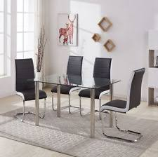 clear black gl chrome dining table set 4 faux leather chair grey black white