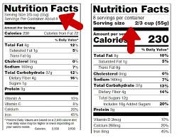 nutrition facts label serving size