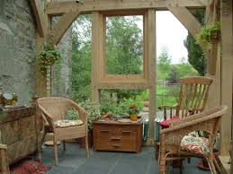 Picking Up the Best Conservatory Ideas to Make One for Yourself : Awesome  Cream Conservatory Decor Ideas Interior Design With Exposed Wooden Beams  Framed ...