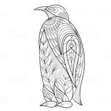 大人のぬりえ鳥ペンギン お絵かきのベクターアート素材や画像を多数ご