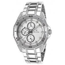 bulova crystal silver dial steel crystal men s watch 96c110 bulova crystal silver dial steel crystal men s watch 96c110