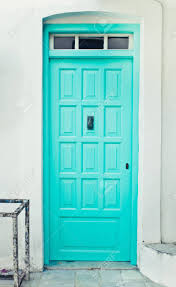 Turquoise front door Aqua Turquoise Front Door In Greek House Stock Photo 45042695 123rfcom Turquoise Front Door In Greek House Stock Photo Picture And