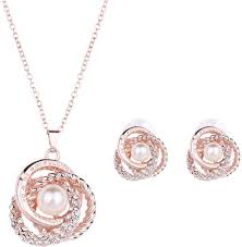rose gold plated elegant pearl pendant necklace earrings set jewelry set souq uae