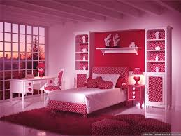 white and red little girls bedroom interior color decor with single bed in the middle combined