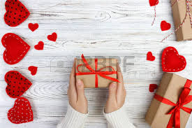 Valentines Day Gifts Inspiration Valentines Day Background Female Hand Holding A Gift For Valentines