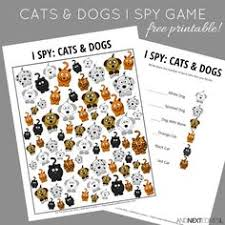 cats dogs themed i spy game free printable for kids