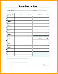 Dugout Lineup Card Template Poporon Co