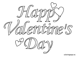 Small Picture Happy Valentines Day Text Coloring Page