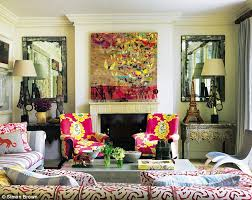 in the living room kit drew inspiration for the colour scheme from anna raymond s fabric