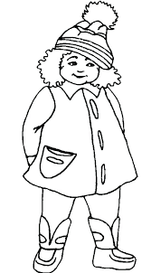 the girl using winter coat coloring pages free of coats