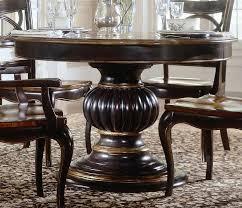 rug under round kitchen table. Comely Dark Brown Polished Edge Wooden Round Pedestal Standing Dining Table For Rug Under Kitchen