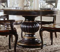 comely dark brown polished edge wooden round pedestal standing dining table for your dining room