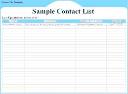 Contacts List Template Classy Personal Contact List Template Excel Free Email Sign Up For Our