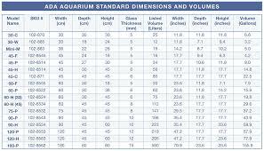 Aquarium Size Chart Standard Ada Aquarium Sizes And Volumes Spec Tanks