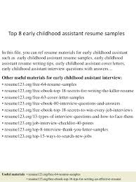 early childhood special education resume sample assistant cover letter top  8 samples 1