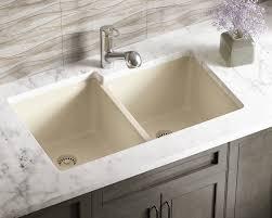 801 Beige Double Offset Bowl Trugranite Sink