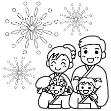 家族白黒花火大会の無料イラスト夏の季節行事素材