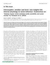 Pdf Interoception And Awareness Of Physiological Ual Arousal In
