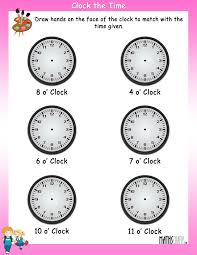 draw hands on clock worksheet 1