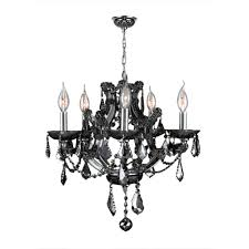 lyre collection 5 light chrome finish and smoke crystal chandelier 19 d x 18