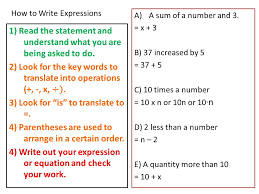 how to write expressions 1 read the statement and understand what you are being asked