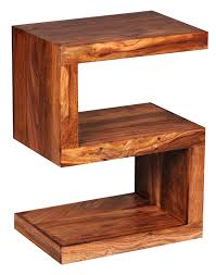 wohnling solid wood side table s cube  x  x cm with shelf