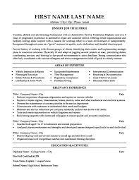 Automotive Service Technician Resume