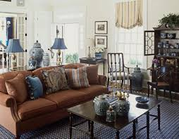 living spaces home furniture. blue accents a ralph lauren chilton sofa is backed by console that separates the living room and entry of new jersey house decorated scott sanders spaces home furniture