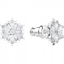 swarovski magic white crystal snowflake stud earrings