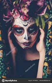 catrina face makeup stock photo